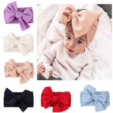 Милая повязка на голову с большим бантом для маленьких девочек, однотонный хлопковый Эластичный Тюрбан, повязка на голову с большим бантом, повязка на голову для девочек от 0 до 3 лет
