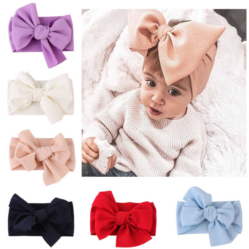 Cute Baby Girls Big Bow Hairband Headband Solid Cotton Stretch Turban Big Knot Head Wrap Headwear Girls Headband 0-3Years