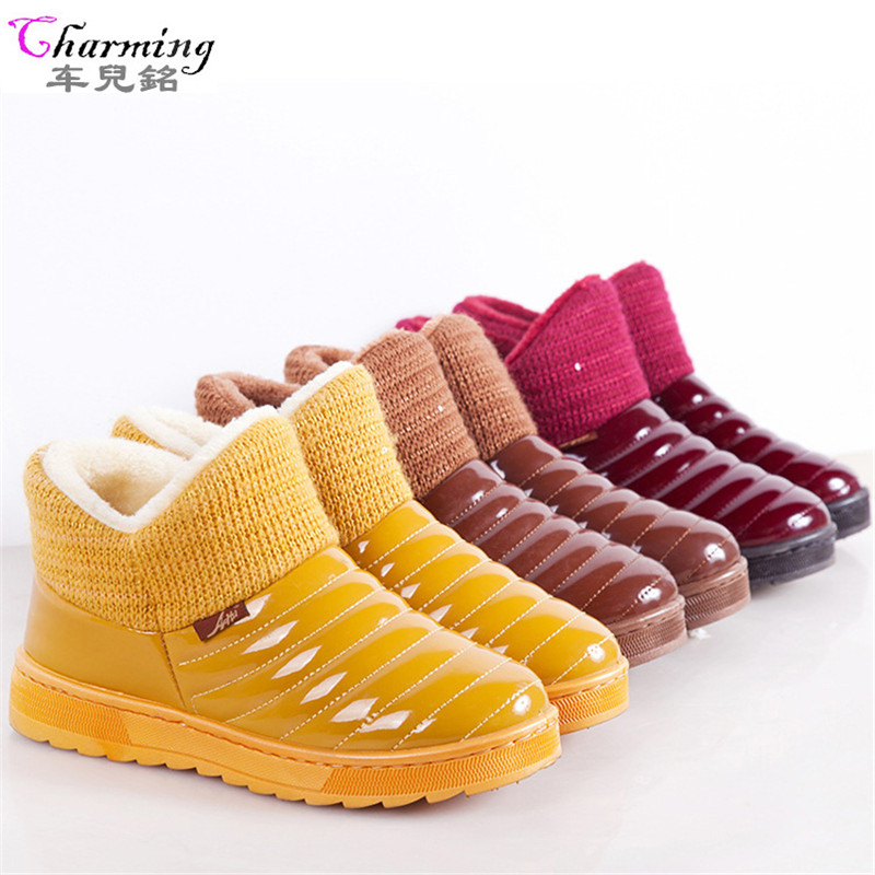 купить 2016 New candy color  women Winter Boots waterproof snow boots fashion Fur warm ankle Boots antiskid flat boots plus size ALF246 дешево