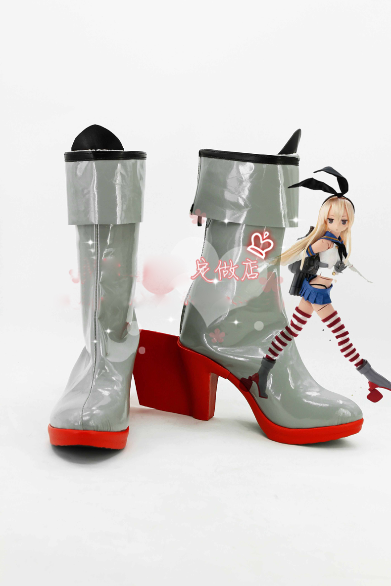 Anime Kantai Collection Shimakaze Boots Cosplay costume shoes Custom Made Halloween Free Shipping