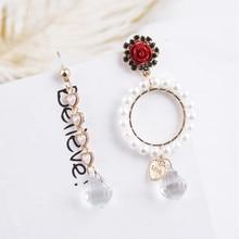 Fashion Pearl Round Circle Love Heart Rose Flower Drop Earrings for Women Asymmetry Crystal Pendant Earring Jewelry Brinco EC661