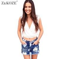 Z KOZE High Waist Denim Skirt Mini Pencil Skirts Womens 2017 Summer Star Print Irregular Short