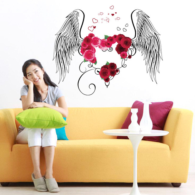 big size angle wings wall stickers rose flower decals wedding room ...