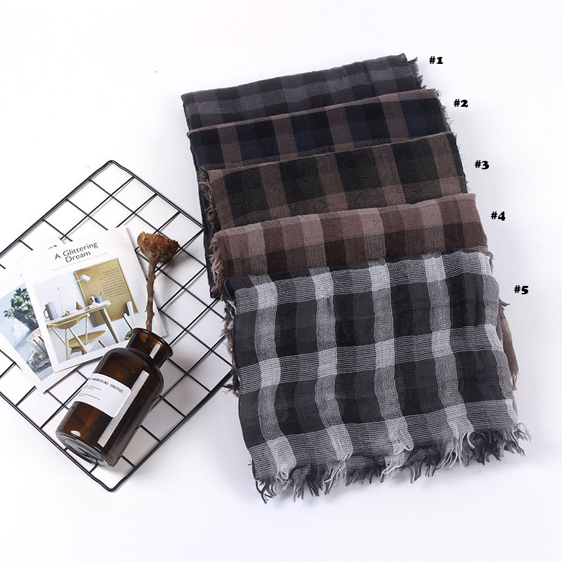 2018 Women Plaid Pattern Fringe Scarf Cotton Fringe Scarf 4Colors 10pcs/lot