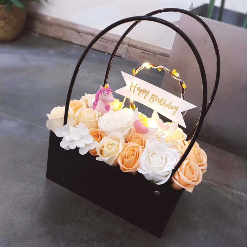 PVC flowers carry bag rectangular Kraft Paper Bags Flower Box with Handle Waterproof Bouquet Florist Rose Party Decoration Boxes