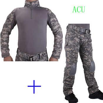 Camouflage de chasse BDU ACU Combat uniforme chemise met Broek en coude et genouillères militaire cosplay uniforme ghilliekostuum jacht