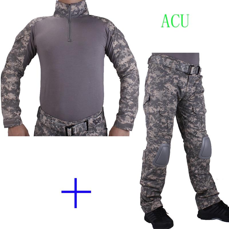 Hunting Camouflage BDU ACU Combat uniform shirt met Broek en Elbow & KneePads militaire cosplay uniform ghilliekostuum jacht цена