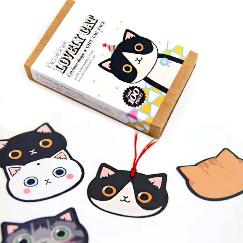 100 Bookmark + 1 Rope /set Lovely Cat Bookmark Mini Message Card Stationery Book Holder School Supplies Papelaria