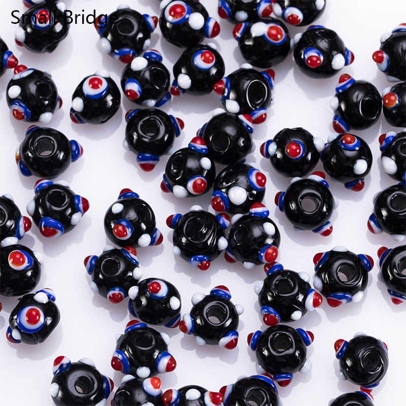 10mm Murano Black Lampwork Glass Beads Material For Jewellery Decorative Perles with Hole Round Spacer Beads Wholesale L601