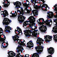 10mm Murano Schwarz Murano Glas Perlen Material Für Schmuck Dekorative Perles mit Loch Runde Spacer Perlen Großhandel L601