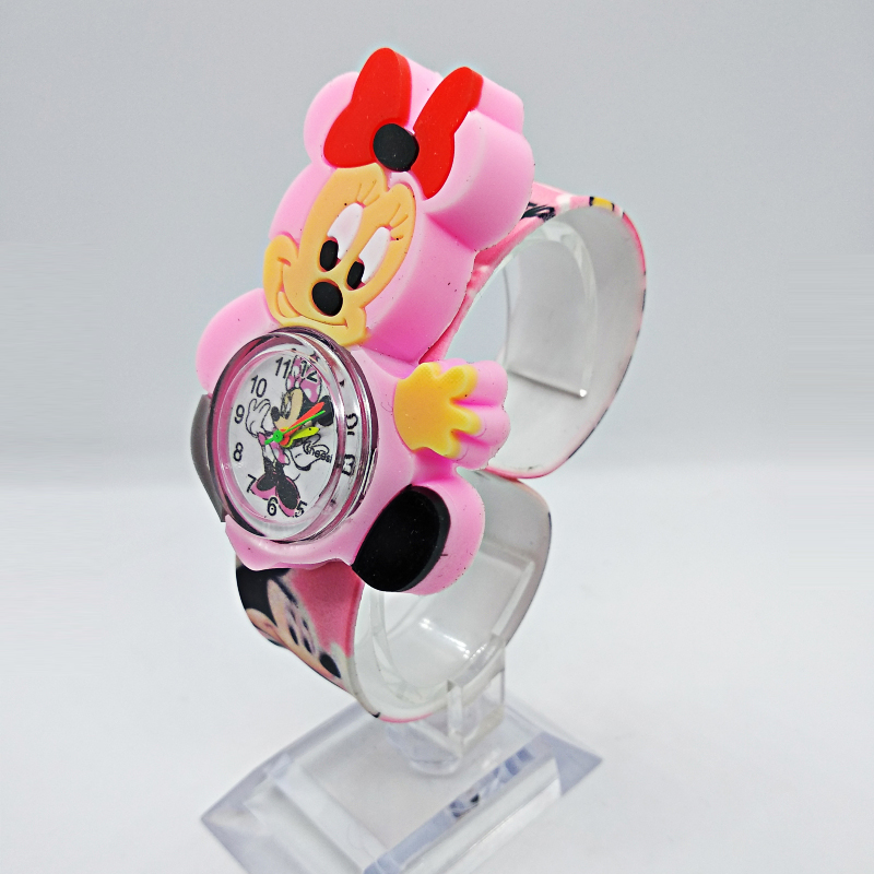 Beautiful Girls Watches Kids Pink Cartoon Minnie Clocks Colorful Rubber Watchband Wristwatch For Girls Children Montre Enfant @9
