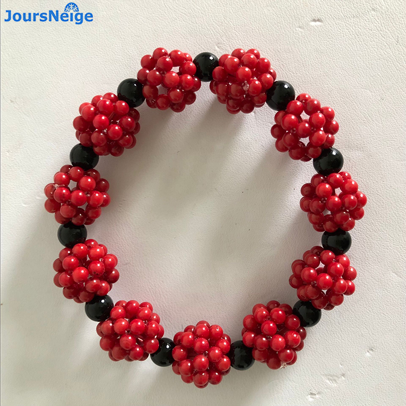 Wholesale Hand Waved Red Coral Bracelets with 6mm Black Round Beads Crystal Bracelet Beauty for Women Girl Gift Fashion Jewelry