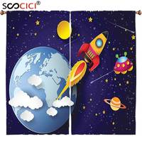 Window Curtains Treatments 2 Panels Outer Space Rocket On Planetary System With Earth Stars Ufo Saturn