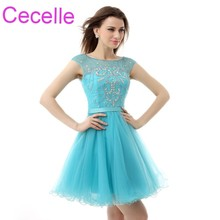Blue Tulle Short Cocktail Dresses 2019 Beaded Crystals A-line Juniors Semi  Formal Prom Cocktail bd0986657b89