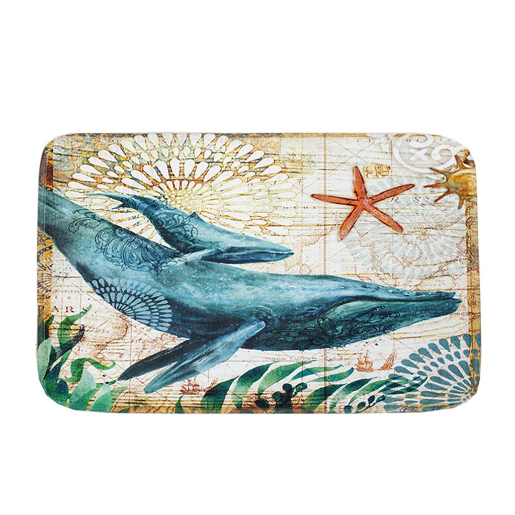 Creative Sea Style Non Slip Toilet Polyester Cover Mat Set Bathroom Shower Mat Shower Room Accessories  a702