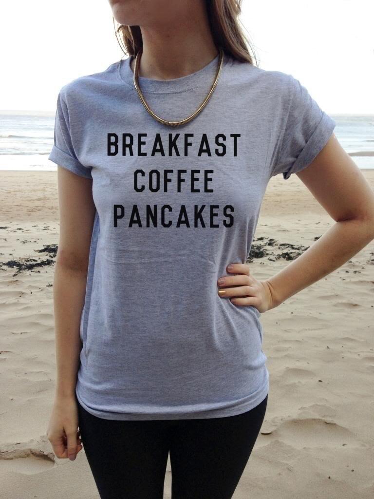 Новое поступление завтрак кофе блины Женская мода футболка Лето Забавный повседневные фу ...