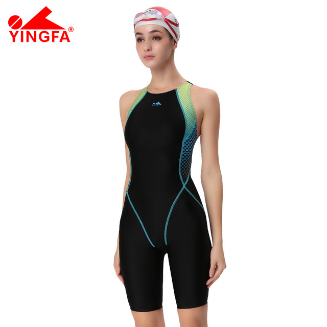 1157c29bc23e3 FINA Approval Professional swimming Suit Training costumes women knee  Swimsuit Sports Competition Tight full body Bathing