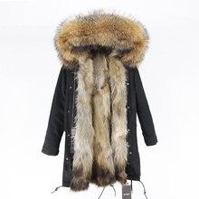 معطف شتوي من الفرو الحقيقي لعام 2020 للنساء سترة طويلة من الفرو الطبيعي الراكون مع ياقة من فرو الثعلب وبطانة سميكة ودافئة ملابس خارجية