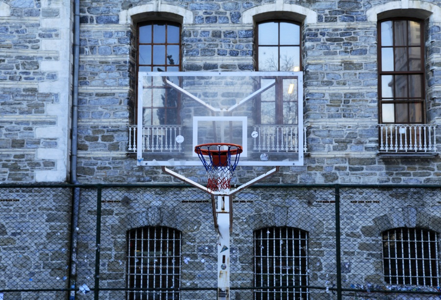 Laeacco Brick House Arch Window Basketball Hoop Scene Photography Backgrounds Customized Photographic Backdrops For Photo Stadio
