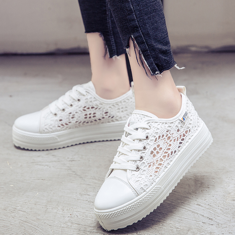 Summer Women Shoes Hollow Floral Breathable Platform Flat Shoes Casual Cutouts Lace Canvas Shoes White Black Color hot sale summer women shoes cutouts lace canvas shoes hollow floral breathable platform flats shoe sapato feminino zapatos mujer