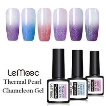 LEMOOC 8ml Pearl Thermal Gel Nail Polish Temperature Color Changing Varnish Shimmer Glitter Soak Off UV Art