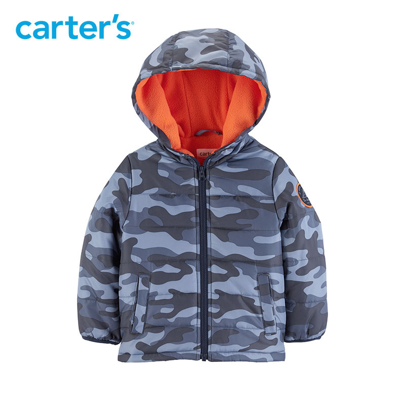 Carter's Autumn Winter Camouflage Hooded Baby Jacket Casual Warm Long Sleeve Baby Boy Coat CL218843 casual long sleeve embroidered faux leather jacket for boy