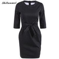 Women Striped Dress Elegant Business Party Formal Office Summer Dress Plus Size Bodycon Casual Pencil Sheath