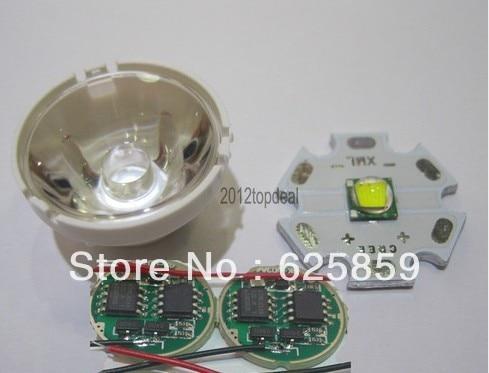 Cree XM-L светодиодный T6 белый светильник+ 3,7 V Драйвер+ объектив с держателем