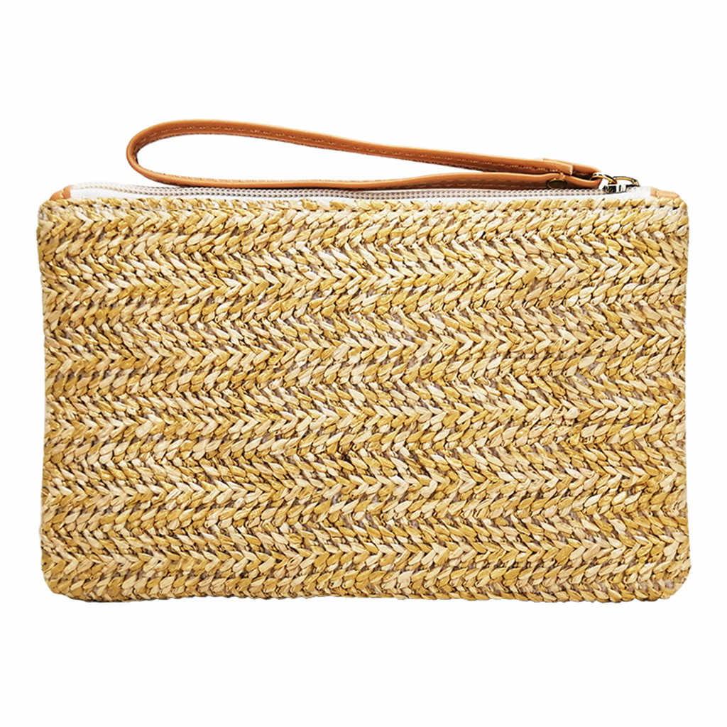 Straw Handbag Musim Panas Pantai Tas Wanita Vintage Rotan Ember Bentuk Padat Tenun Mini Square Tas Wanita Hari Clutches