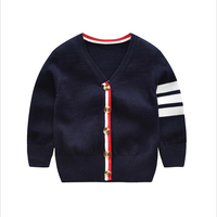 ARISONBELAE Brand Casual Fashion New Year Children Sweaters Horizontal Stripes Design Cardigan Thick Winter Cotton Kids