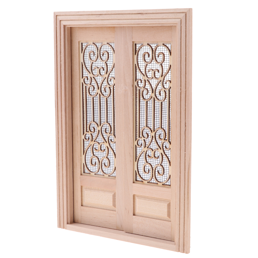 Us 13 98 47 Off 1 12 Dollhouse Miniature Wooden External Hollow Screen Double Single Door Shutters Window Unpainted Diy Accessories In Furniture