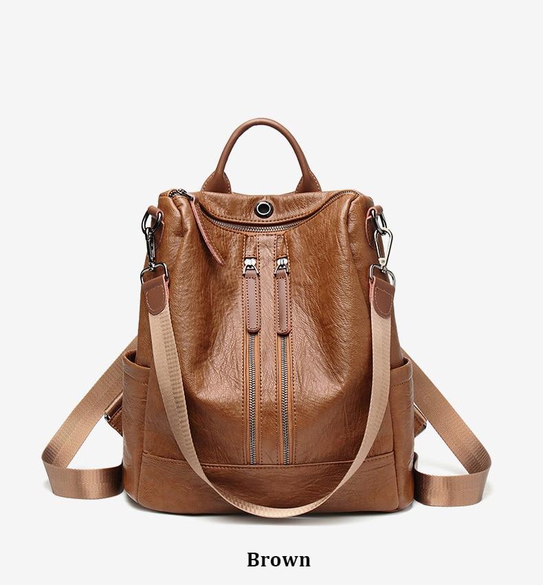 HTB1YTRQbELrK1Rjy0Fjq6zYXFXas Female backpack mochila feminina casual Multifunction Women Leather Backpack Female Shoulder Bag Sac A Dos Travel Back Pack