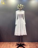 Rhin Échantillon Réel Manches Longues Plein Perles Et Paillettes Genou Longueur Formelle de Partie de Mode Robes De Bal Robe robe de noiva