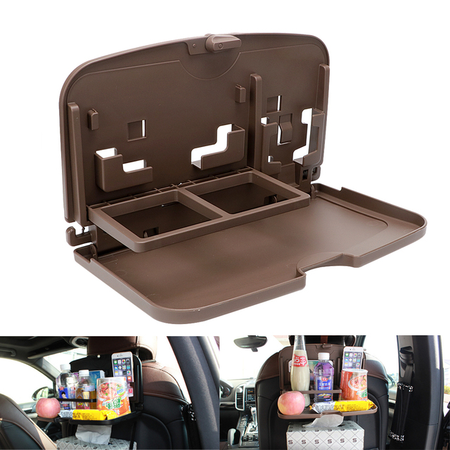 Car Back Seat Table Auto Food Tray Folding Dining Drink Cup Phone Holder Organizer