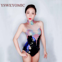 2019 Sexy glitter with Colorful rhinestones Leotard Performance Dance Wear Nude Singer bodysuit dance costume women sexy pole
