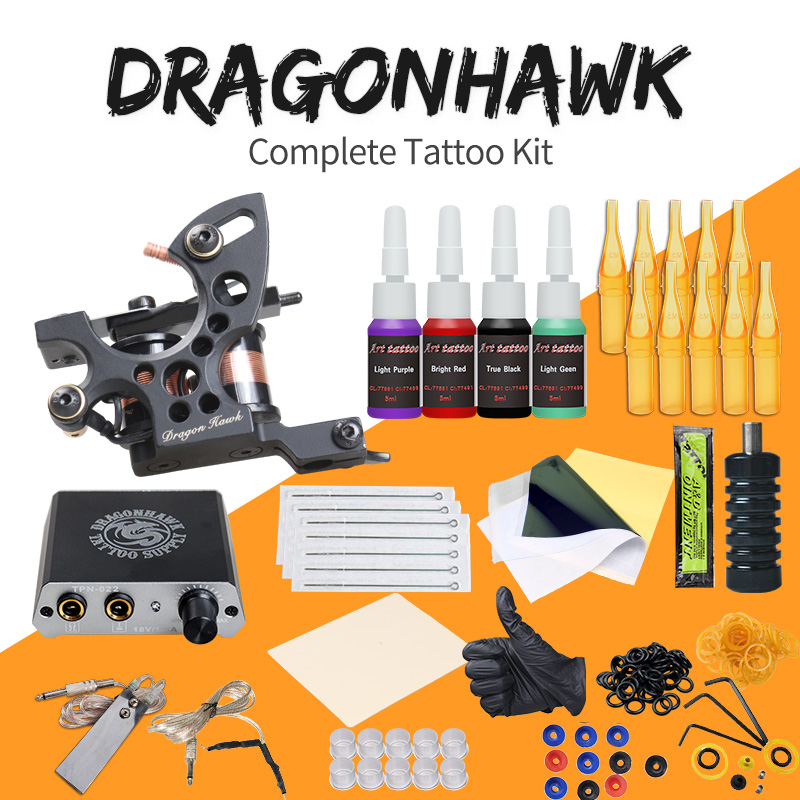 Komplette Tattoo Kits 8 Wrap Spulen Pistolen Maschine 1/6 unze Schwarz Tattoo Ink Sets Netzteil Einweg Nadel freies Verschiffen
