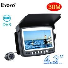 """Eyoyo оригинальная 30 м 4,"""" Подводная 1000TVL видеокамера для ловли со льдом рыболокатор видео Запись DVR 8 инфракрасный ИК светодиодный солнцезащитный козырек"""