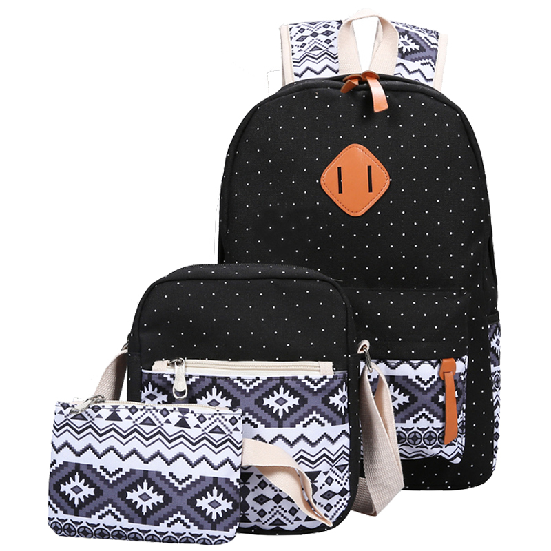 Backpacking Backpack Set Canvas Printing Backpack Women Cute Lightweight Bookbags Middle High School Bags for Teenage Girls