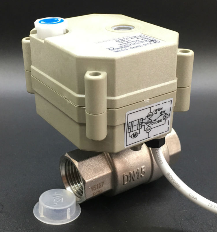 TF15-S2-B IP67 2 Way Actuated Ball Valve With Manual Wheel BSP/NPT 1/2'' SS304 AC/DC 12V 24V 3 Wires Actuator Valve Metal Gear tf15 s2 b dn15 stainless steel normal close open valve 2 5 wires bsp npt 1 2 ac dc9v 24v electric water valve