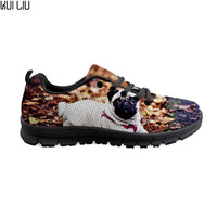 Cute 3D Puppy French Bulldog Print Woman's Mesh Flats Shoes Fashion Summer Lace Up Sneakers Casual Footwear women casual shoes