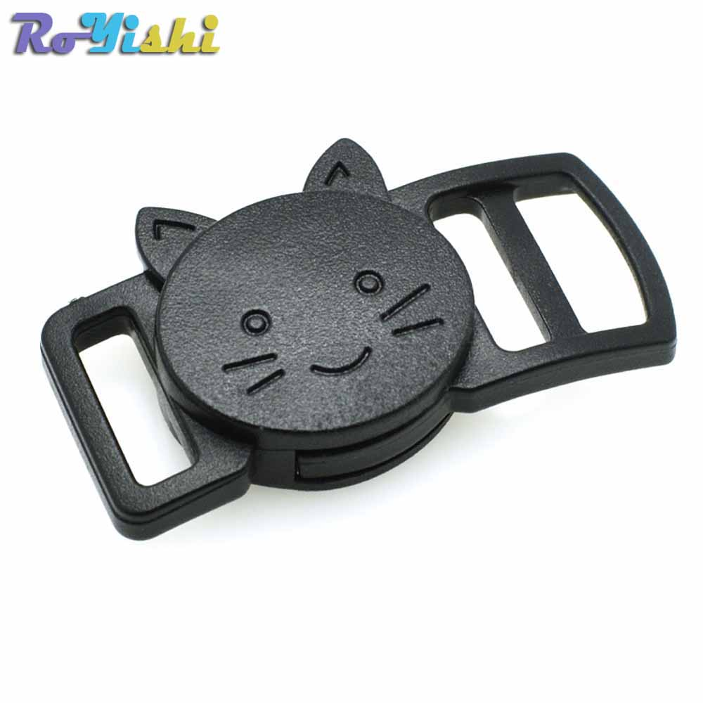 "100pcs/pack 3/8""(10mm) Plastic Curved Cat-Head Safty Breakaway Buckle Black Cat Collar Paracord Webbing Apparel Accessories"