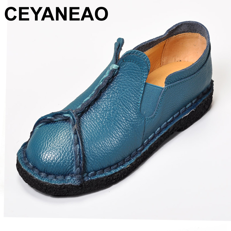 CEYANEAORetro Women Shoes & Flats Woman Genuine Leather Flat Shoes Fashion Hand-sewn Women Loafers Female Casual Shoes summer sneakers fashion shoes woman flats casual mesh flat shoes designer female loafers shoes for women zapatillas mujer