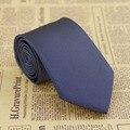 """Men's Tie Handmade Jacquard Woven Necktie Silk Skinny Style 3.15"""" Width Navy Blue Grid JS15"""