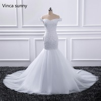 Robe De Mariage New Fashion Lace Mermaid White ivory Beaded Wedding Dresses Off The Shoulder Bridal Gown Custom Made