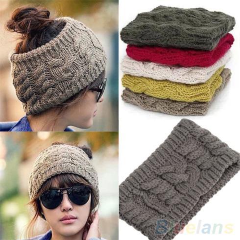 Hot Fashion Korean Winter Warm Women's Braided Knit Wool Hat Cap  Hair band  22PL qiu dong korean fashion personality joker empty hat knitting wool hair hoop headband