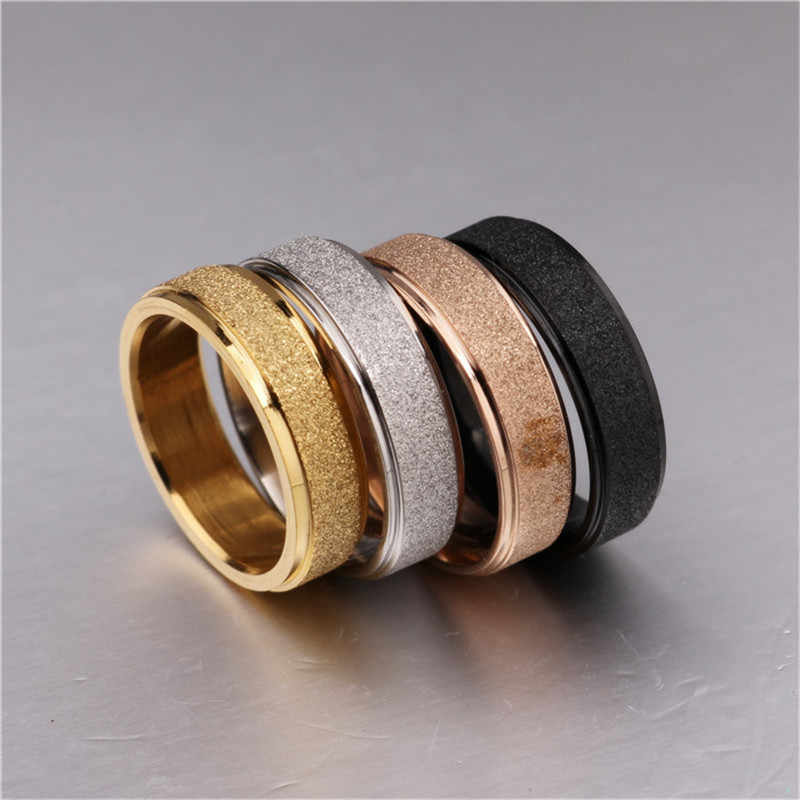2018 New Fashion 6mm Dumb Light Titanium Steel Ring For Men Women High Quality Simple Rose Gold Couple Rings Wholesale
