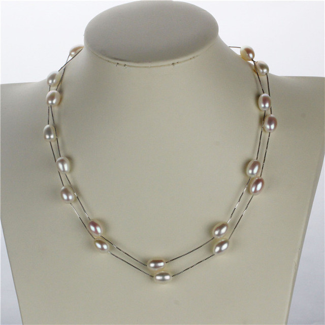 5b941df93885 Snh aaa gota blanca perlas de agua dulce naturales collar colgante para las  mujeres genuino real