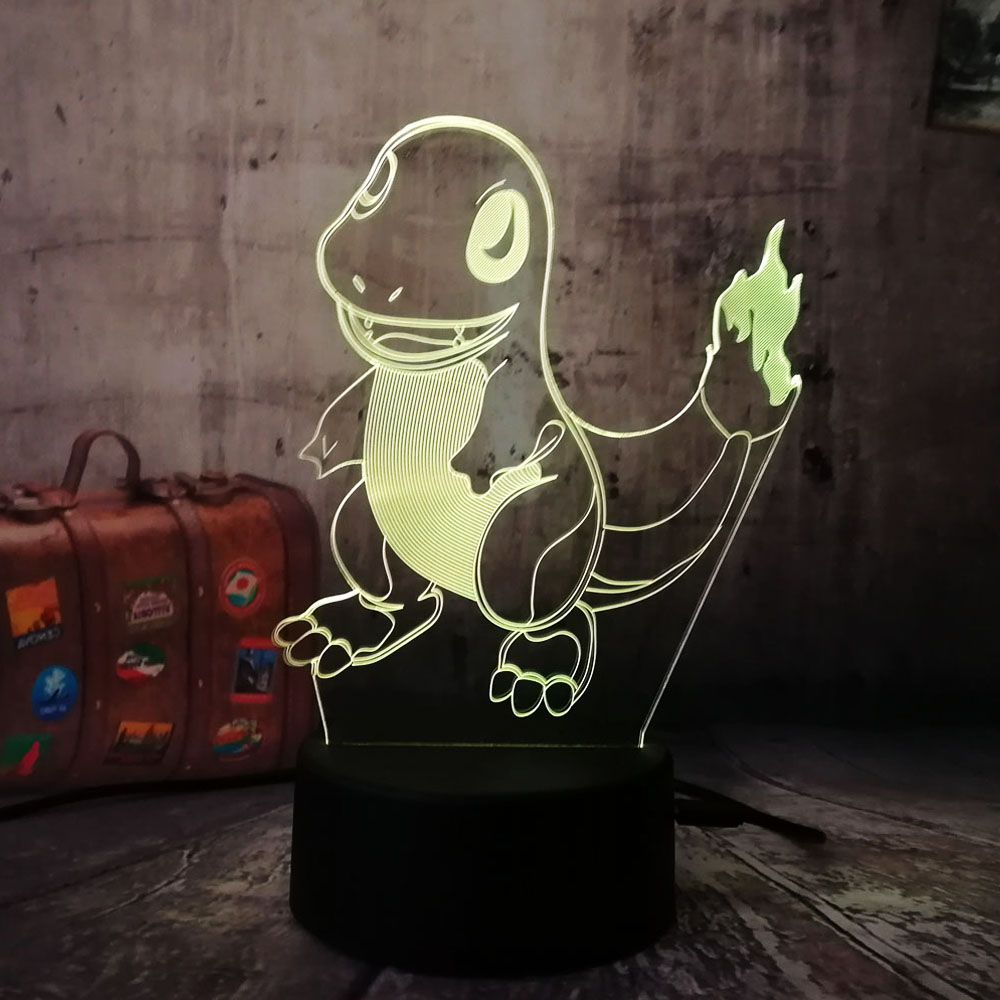 Lovely Boy Kid Gift Pokemons Go Game Christmas 3D Small Fire Dragon LED kawaii Night Light 7Color Gradient LED Lamp kid baby toy