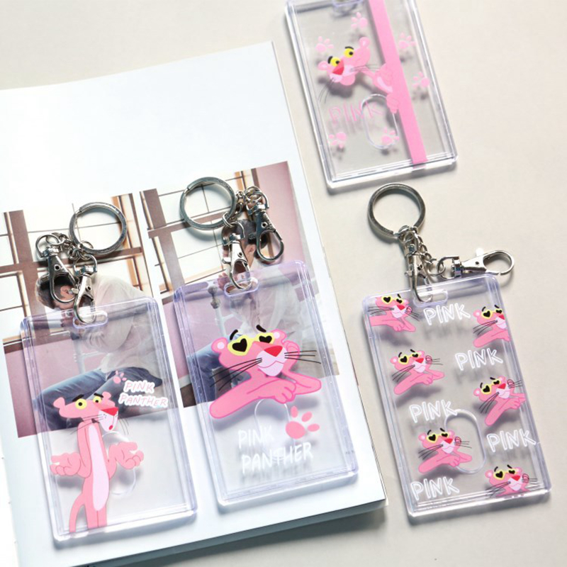 Cartoon Pink Panther Transparent Bank Credit Id Card Holder Cover Women Travel Credit Bus Keyring Key Wallet Cute Chain Card