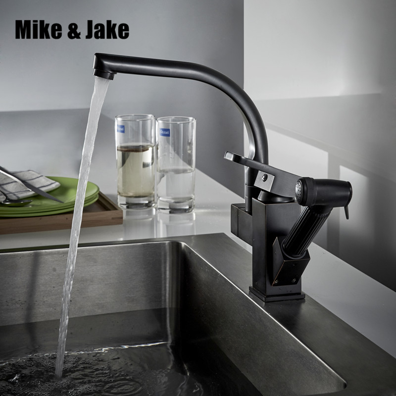 Black kitchen faucet oil brush black Finished Pull Out Spring Kitchen tap Swivel Spout Vessel Sinkhot and cold Mixer Tap MJ165B good quality wholesale and retail chrome finished pull out spring kitchen faucet swivel spout vessel sink mixer tap lk 9907